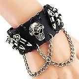 Mehrunnisa Fashion Black Leather Skull Band Multi-Strand Bracelet For Boys (Jwl1083)