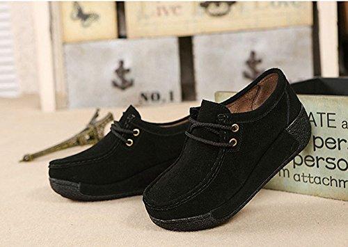 JRenok Chaussure Femme Suède Epais Semelle avec la Pente Chaussure Compensée Chaussure lacets en Automne et en Hiver Chaussure à Glands Chaussure plateforme Confortable Noir