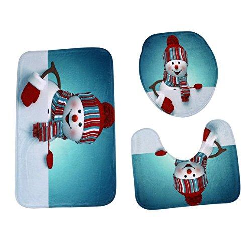 Sockel Teppich + Deckel Toilettendeckel + Badematte Set,Moonuy 3 STÜCKE umweltschutz Weihnachten Bad Rutschfeste Sockel Teppich + Deckel Toilettendeckel + Badematte Set einfach absorbieren wasser (L) (3 Stück Teppich Set Türkis)