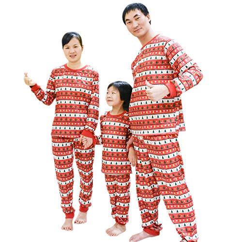 (BOZEVON Familie Weihnachten Pyjama - Schlafanzug Top Hosen Sets Mama Papa Kinder Weihnachtsbaum Sleepwear Nachtwäsche, Rot-Zum Kinder, Tag 3T)