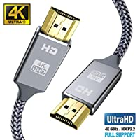 Snowkids 2m HDMI Kabel HDMI 2.0 a/b Highspeed mit Ethernet, 4K hdmi Kabel 2.0/1.4a, Video UHD 2160p, Ultra HD 1080p, 3D, ARC, CEC, Xbox PS3 PS4 PC -2m Grau