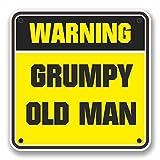 2 x 10cm/100mm Grumpy Old Man Warnzeichen Fenster kleben Aufkleber Auto Van Wohnmobil Glas #9742