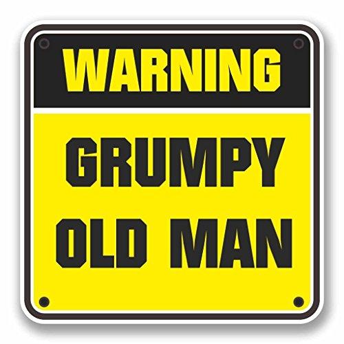 2 x 25cm/250mm Grumpy Old Man Warnzeichen Fenster kleben Aufkleber Auto Van Wohnmobil Glas #9742