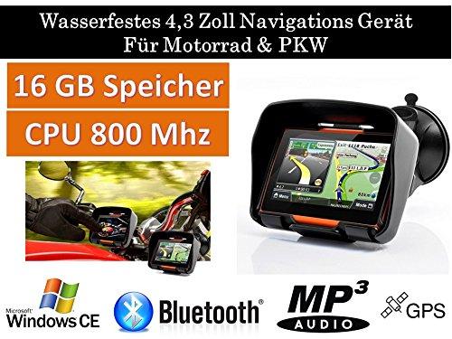 4,3″ Zoll PKW Navigationsgerät Navigation Bluetooth,PKW,Motorrad,Wasserdicht,GPS,Kostenlose Kartenupdate,Neuste Europa Karten sowie Radarwarner,16GB Speicher