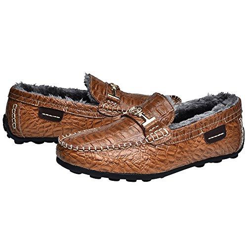 Jamron Hommes Haut de Gamme Résistant à L'Eau Croco Estampillage Cuir Chaussures de Conduite Élégant Doublure Chaude Flâneur Flats Marron-Peluche