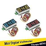 3pcs Voltmeter LED Mini Voltmeter Digitale Spannung 0,28 Zoll Dreidraht DC 0-100 V, Gauge Tester Display Verpolungsschutz und Genaue Druckmessung (rot, gelb, blau)