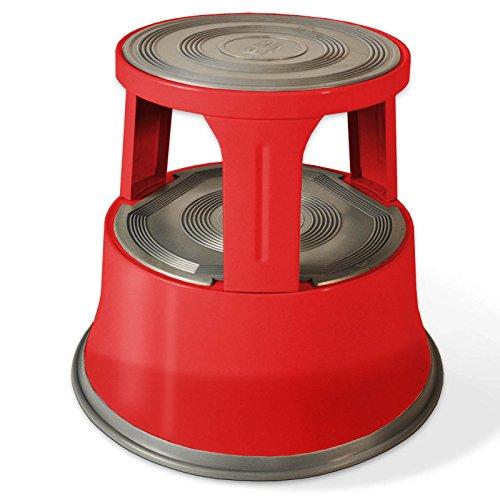 Casa pura scalino in metallo con ruote a scomparsa capacità di carico 150 kg | base antiscivolo in gomma | 3 colori, rosso