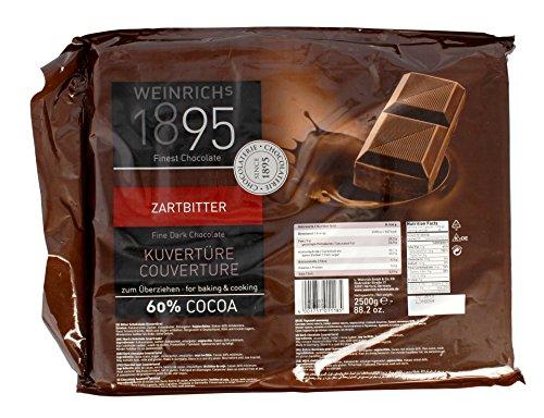 Weinrichs - Zartbitter Kuvertüre 60{c0a6df41e9b752b8b45907a97ea66afe9f7e7a7fca73218e67c4e8bc08219560} Cocoa Schokolade - 2,5kg