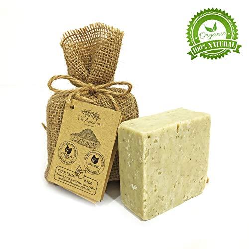 Barra di sapone d'argilla naturale organico fatto a mano antico tradizionale vegano - Esfoliante, riduzione dei pori, cura l'acne e la pelle grassa - Nessun prodotto chimico, puro sapone naturale!