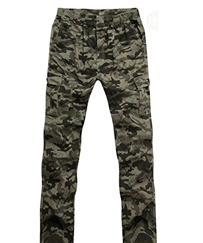Anguang Homme Confortable Cargaison Pantalon Pantalon De plein air Décontractée Multi Les poches Un pantalon Lumière Armée 2XL