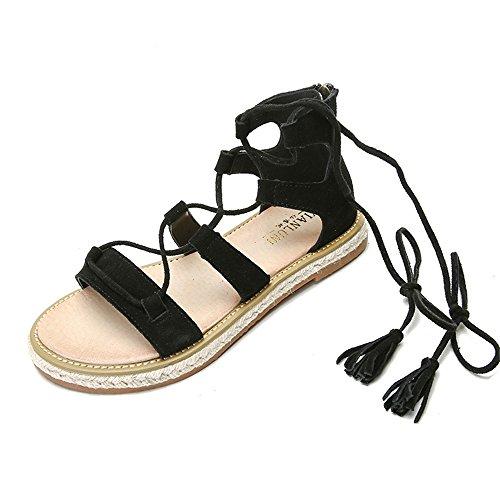 ShangYi Scarpe basse estive in pelle romana con cinturino in corda di paglia c55a52a74ac
