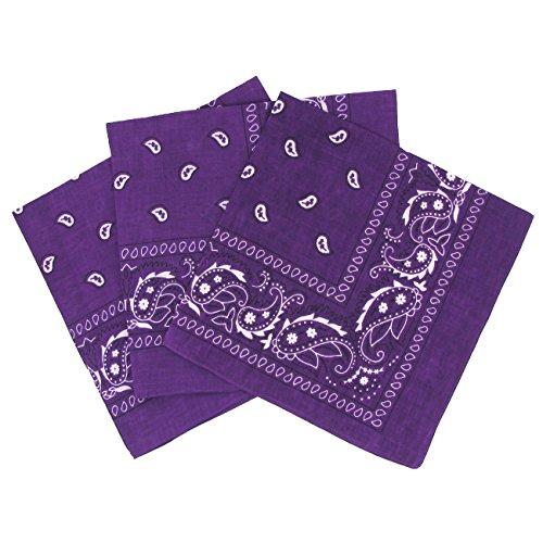 Set 3 bandanas paisley damen und herren dunkelviolett