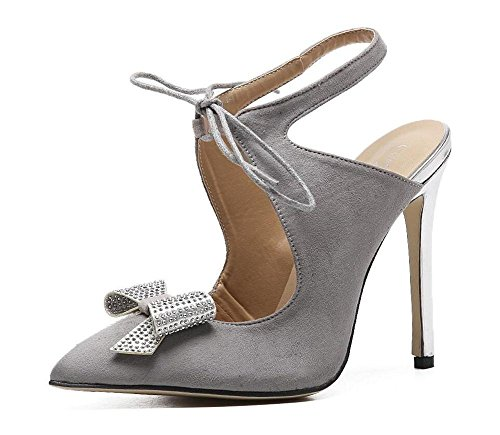 SHINIK Damen Spitz-Zehen-Pumps Slingback Damen-Nashorn-Fliege mit leeren Spitze hoch mit feinen Sandalen Grey