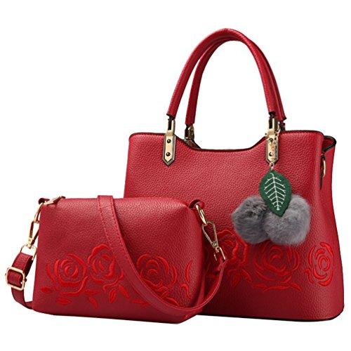 YouPue 2 Stück Set Praktisch Damen Handtaschen Kunstleder Henkeltaschen + Umhängetasche Crossbody Tasche Rot(2pcs)