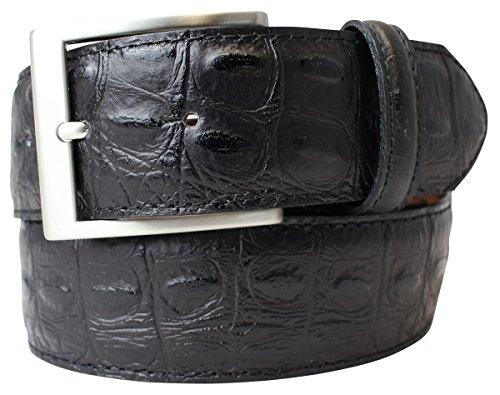 Gürtel mit Krokoprägung 4,0 cm | Leder-Gürtel für Damen Herren 40mm Kroko-Optik | In Schwarz Braun Blau Rot Kroko-Muster 4cm Schnalle Silber -