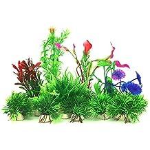 Plantas acuáticas artificiales, PietyPet 16 piezas Plantas Pequeño de acuario Decoraciones plásticas del tanque de