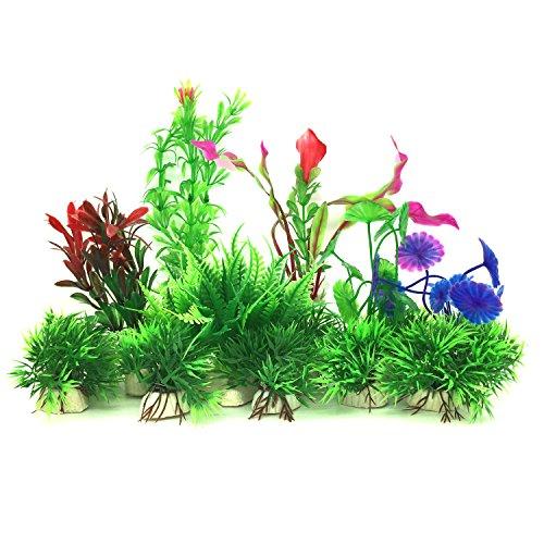 Plantas acuáticas artificiales, PietyPet 16 piezas Plantas Pequeño de acuario Decoraciones plásticas del tanque de peces, Planta de simulación viva Criatura Acuario Paisaje