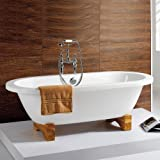 Traditional Roll Top Freestanding Double Ended Bath with Light Oak Feet