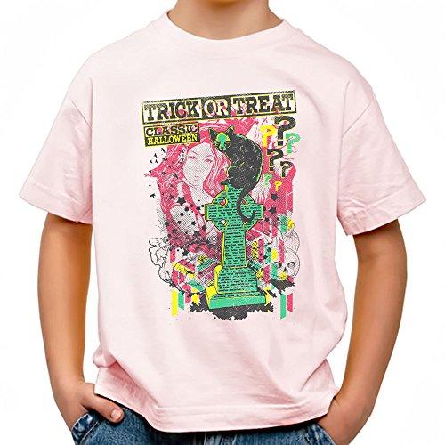 Trick or Treat Cooles Party Kinder T-Shirt_rosa_158/164 (Grabstein Zeichnungen Halloween)
