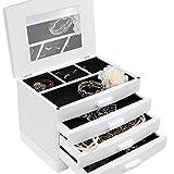 Weißer Schmuckkasten Schmuckschatulle Schmuckaufbewahrung mit 3 Schubfächern inklusive Extra-Fach mit aufklappbarem Deckel