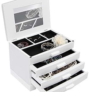 MIADOMODO Weißer Schmuckkasten Schmuckschatulle Schmuckaufbewahrung mit 3 Schubfächern inklusive Extra-Fach mit aufklappbarem Deckel