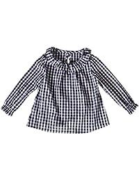 BBsmile Vestido de niña Niño pequeño Kids Girls Manga Larga algodón Camiseta Cheque a Cuadros Tops Blusa Ropa