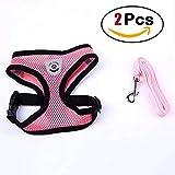 Haolv Puppy Vest Verstellbarer Brustgurt Atmungsaktives Mesh Kleiner Hundegeschirr und Leinen-Set,Pink,XL