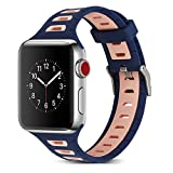 Apple Watch Armband 38mm, Dexnor Apple iWatch Armband Series 1 / 2 / 3 Sportarmband Smart Watch Silikon Strap Replacement Wrist Band Uhrenarmband Ersatzband - Blau + Rosa