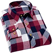 DressU Men's Long Sleeve Flannel Casual Plaid Checkerboard Printing Classic Longs