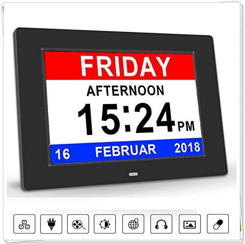 """8"""" Digital Wecker,Digitaler Kalender Tag Uhr Für Demenz sehschwachen Gelesen Werden,Kinder, Senioren, Sehschwache und Alzheimer Patienten -Großer Schrift Elektronischer Kalender Tag Uhr (Schwarz)"""