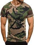 OZONEE Herren T-Shirt mit Motiv Kurzarm Rundhals Figurbetont Camouflage ATHLETIC 1065 GRÜN S