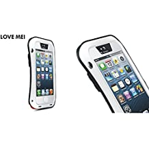 Love Mei de aleación de aluminio Metal choque/prueba de agua Gorilla Glass case cover para Apple Iphone 5 5S 5 G, compatible con Apple iPhone 5/Apple iPhone 5 & 5S