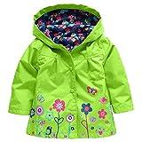 Mädchen Winddichte & wasserdichte Blumen Regenmantel Outwear Jacke Grün / 90cm