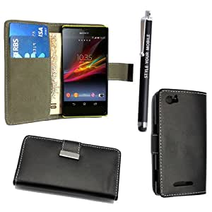 STYLEYOURMOBILE SONY XPERIA M C1905 PREMIUM QUALITY PU LEATHER MAGNETIC FLIP CASE SKIN COVER POUCH + FREE STYLUS (Black Book Flip)