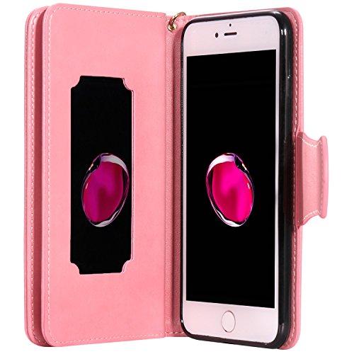 iPhone Case Cover IPhone 7 Plus Case, fleurs pressées en relief modèle de fille et de chat PU Housse en cuir avec sangle de main et 9 Slot de carte Cadre photo pour iPhone 7 Plus 5.5 pouces ( Color :  Pink