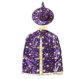 LILITRADE Disfraces de Halloween para niños Capa de Mago de Bruja Capa y Sombrero de Cabo de Halloween Juego de Disfraces para niños y niñas (Púrpura)