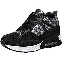 POLP Calzado Zapatos con Cordones Mujer Zapatillas Running para Hombre Aire Libre y Deporte Transpirables Invierno Casual Zapatos Gimnasio Correr Sneakers Rojo Negro 35-43