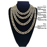 ORKST 15Mm Vergoldete Full Diamond Herren Kubanische Kette Halskette,60Cm