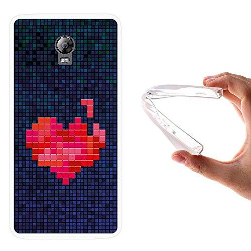 WoowCase Lenovo Vibe P1 Hülle, Handyhülle Silikon für [ Lenovo Vibe P1 ] Pixel- Rotes Herz Handytasche Handy Cover Case Schutzhülle Flexible TPU - Transparent