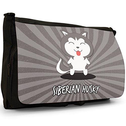 Mondo Cartoon cani grande borsa a tracolla Messenger Tela Nera, scuola/Borsa Per Laptop Siberian Husky, Chukcha