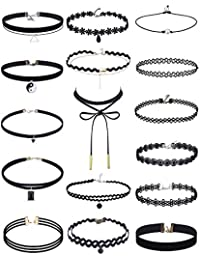 16 Pieces Choker Necklaces Set Black Choker Necklace Lace Velvet Choker for Women