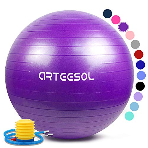 Arteesol Gymnastikball, Balance Ball 45cm/55cm/65cm/75cm Yoga Ball mit Pumpe Anti-Burst Fitness Balance Ball für Core Strength (Lila, 65CM)