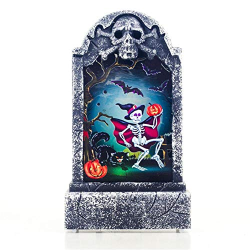Halloween Kürbis Light Up Grabstein Nachtlicht Deko Schwarze Katze Totenkopf Grabsteindekor Dekorationen Wind Licht Blendende Spielzeug für Halloween Party Ostern Häuser Gärten