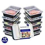 Home Treats 10 Pack Meal Prep Food Containers With Lids. Microwave, Freezer And Dishwasher Safe Bento Box/Lunch Tray. With Free Ebook(2 Compartments)