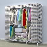 ZC&J Moderne minimalistischen Stil Schlafzimmer Schließfächer Tuch Kleiderschrank, Edelstahl-Skelett, einfach zu montieren und bewegen Kleiderschrank,B,57*67*18inch
