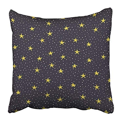 Throw Pillow Covers Print White Drawn Stars and Circles Over Dark Violet Yellow Hand Christmas Dots Year Bright Celebration Polyester 18 X 18 inch Square Hidden Zipper Decorative Pillowcase