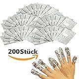 Vanyda Aluminium Folie Nagellackentferner Nail Polish Remover Gel Pads(200 Stück)