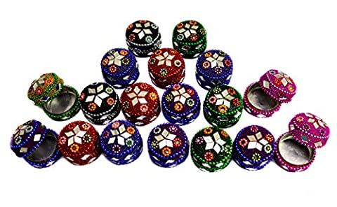 A Set Of 18Pcs Mirror Work Beaded Multi Jewellery Boxes 1.3 Inches Width Multi Color