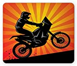 Dirt Bike Mouse Pad, Extreme Sports Theme Motocross Silhouette Climbing on a Hill Starburst Lines Gaming Mousepad Office Mouse Mat Multicolor