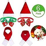 Syhood 6 Set Cappello di Babbo Natale per Cani Gatto Sciarpa e Papillon di Animali Collare Natale Costume per Piccolo Cucciolo Cane Gatto Animali Domestici, 2 Dimensioni per Silenziatore